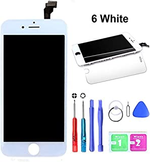 HTECHY Compatible with iPhone 6 Screen Replacement White- Compatible for iPhone 6 Digitizer LCD Touch Screen Display Assembly with Complete Repair Tools Kit Including Screen Protector(4.7 Inch)