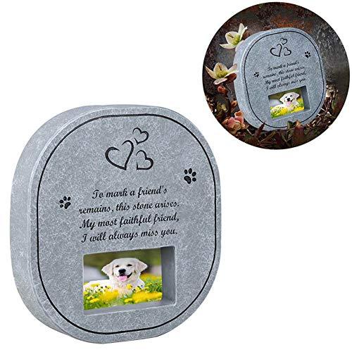 Huisdier Memorial Stones, draagbare duurzame hars hond kat herdenking grafsteen met Sympathy gedicht en fotolijst - voor binnen of buiten Graf Tuin