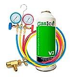 Todoeléctrico Pack Botella Gasica V2 Gas Refrigerante Orgánico Sustituto R22/R407 R410A más Kit Mangueras con manómetro Recarga Aire Acondicionado