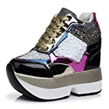 Women's Sparkle Sequins High Top Wedge Fashion Sneakers Hidden Heel Platform Casual Shoes Black