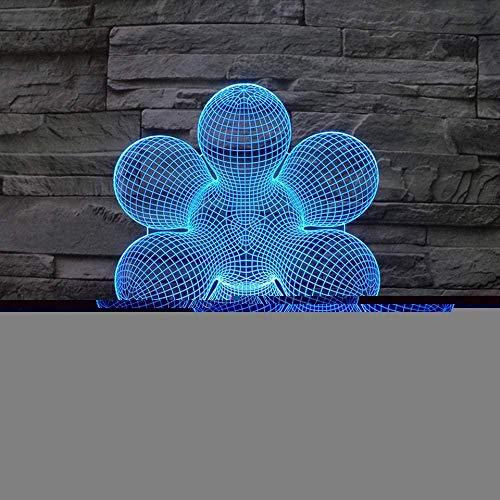 3D Night Light Fun 3D Bright 7 Changement de couleur Usb Night Light Abstrait Ampoule Fleur Lampe de Table Led Chambre Décoration de La Maison Cadeau Créatif