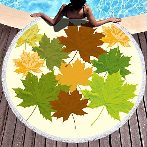 AEMAPE Toallas de Playa para Mujer, Toallas de Playa para niñas Toalla de Playa Personalizada con Marco de Hoja Art Toalla de Playa Redonda de Microfibra de 59 Pulgadas