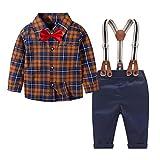 Trajes de comunion niño Marinero 4Piezas Ropa Bebe niño Conjuntos Camisa de Cuadros de Manga Larga + Pajarita + Pantalones + Correa(Marrón Negro,2-3 años)