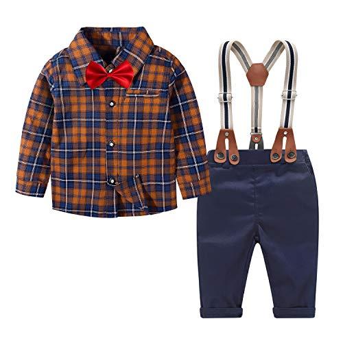 Traje niño Ceremonia 4pcs Ropa Bebe niño Conjuntos Camisa de Cuadros de Manga Larga + Pajarita + Pantalones + Correa Infantil niños Trajes
