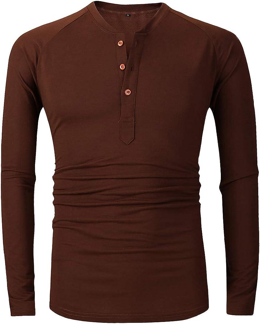 FRTCV Mens Henley Shirts Casual T Shirt Long Sleeve Henleys 8726 Brown US M