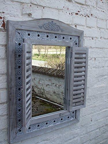 Deko-Impression Großer, Traumhafter Wandspiegel, Fensterläden, Landhausstil, grau, 73 x 55 cm