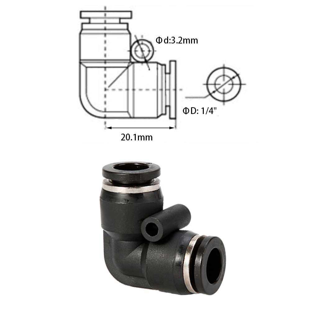 Jienk 10PCS Pneumatic Union Elbow Push to Connect Fittings PBT Plastic 90 Degree 3//8x 3//8 Tube OD Quick Connector for Air Compressor Air Brake Shop Air