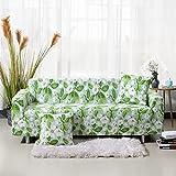 AHKGGM Funda Sofa 4 Plazas Flores Verdes y Blancas 235-300 cm