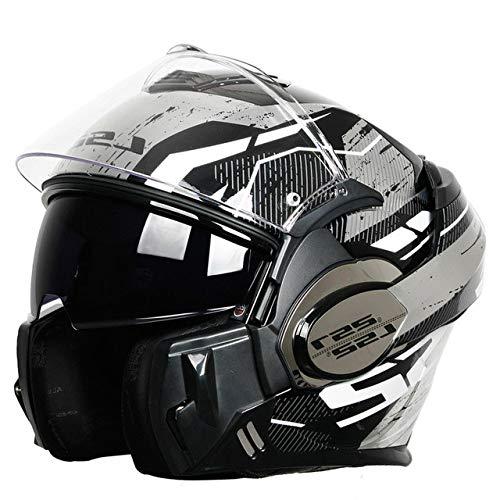 Dgtyui Caschi moto uomo e donna integrali cromo casco antiappannamento completo smontaggio fodera design unico di ventilazione - 10 XL