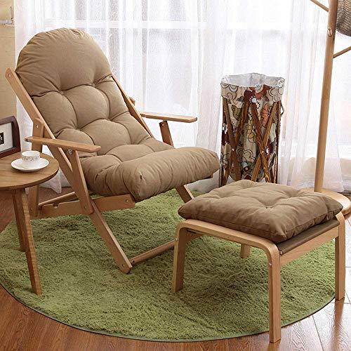 Verstelbare ligstoelen, houten dek Stoel met ootrest and Cushion (wasbaar) niet gemakkelijk Deormed of Living Room Slaapkamer voice, bruin zhihao (Color : Brown)