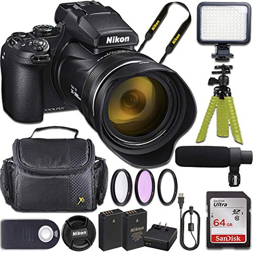 Nikon COOLPIX P1000 Camera with 64GB Memory + Shotgun Microphone + LED Video Light + Video Accessory Bundle (15 Items)