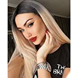 Arenshxc 4x4 Lace Closure Perückes For Women Brazilian Remy Hair Straight Blond #1b613 Echthaar Perücke Ombre Blond Natural Hairline 130% Density Tow Tone Human Hair 16 Zoll