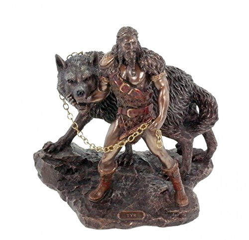 Unbekannt Veronese Figur Germanischer Gott Tyr fängt Fenriswolf bronziert Odin