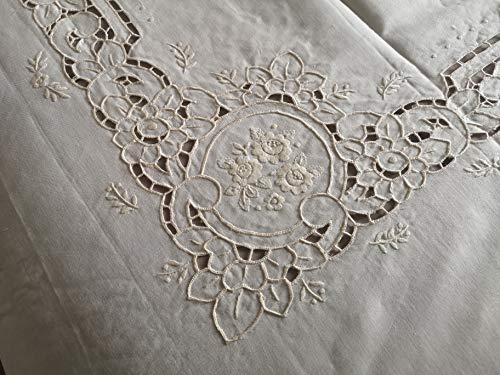 Museal Colcha de puro lino con bordado tallado y punto completo a mano crudo