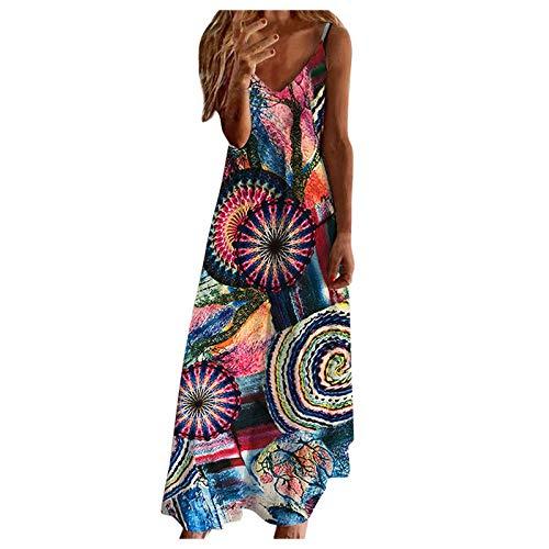 Vestido para mujer, vestido maxi sin espalda con estampado tropical para mujer, vestido de playa sexy sin mangas para vacaciones