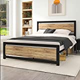 IMUsee Durable Platform Queen Size Bed Frame with Wooden Headboard, Metal Bed Frame with 11
