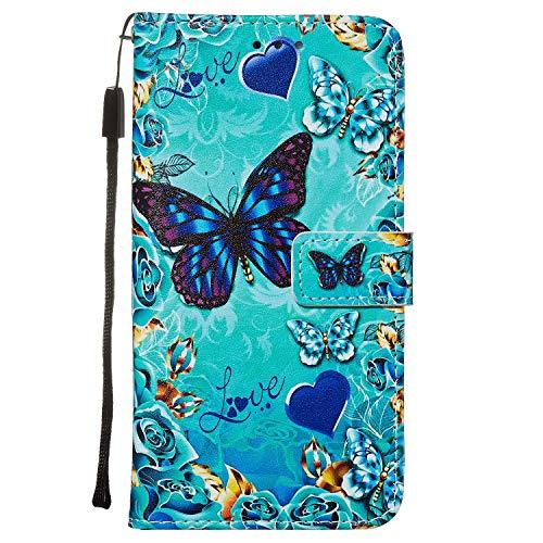 Nadoli Leder Hülle für Huawei P40 Pro,Bunt Blau Grün Schmetterling Malerei Ultra Dünne Magnetverschluss Standfunktion Handyhülle Tasche Brieftasche Etui Schutzhülle