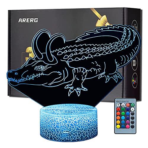 Cocodrilo Loki Touch - Lámpara de escritorio con diseño de cocodrilo, 16 colores cambiables con iluminación remota para decoración de habitación, regalo creativo para niños, cumpleaños, Navidad