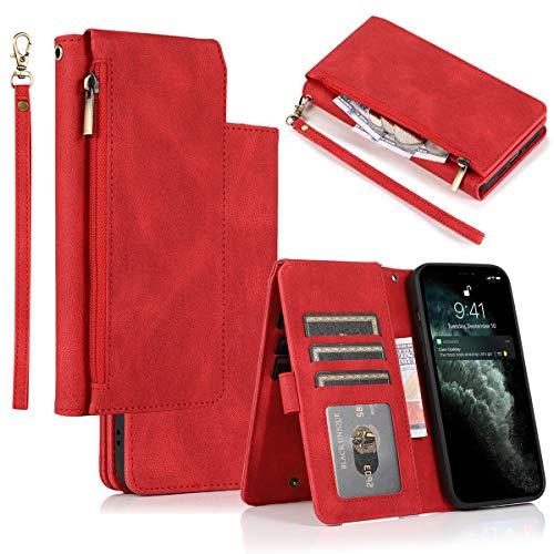 Galaxy S10 Lite Hülle, A91 Hülle,Gift_Source[rot] PU Leder Hülle Brieftasche Etui Geldbörse mit Reißverschluss Schutzhülle Lederhülle mit Kartenfächern & Ständer für Samsung Galaxy S10 Lite/A91 6.7