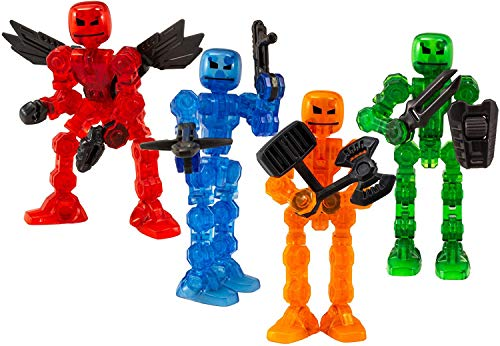 Klikbot Zing, Series 1 Heroes, Complete set of 4 Poseable Action Figures with Weapons, Includes Axil, Helix, Cosmo and Cannon, Translucent