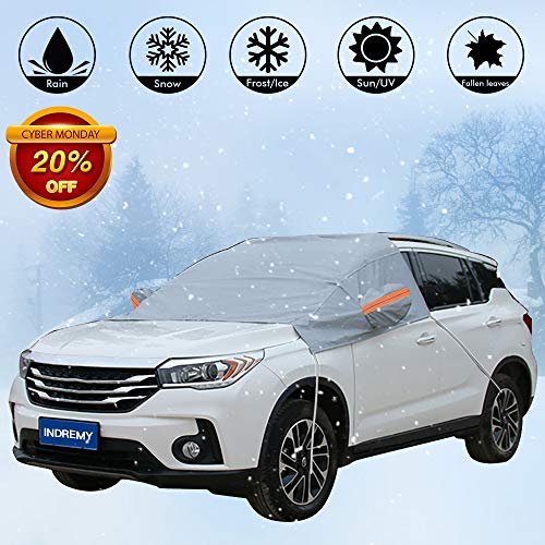 Updated Car Windshield Snow Shade Sunshade Snow Cover Waterproof Winter Cover for Car Truck SUV with Side Mirror Covers - Snow/Rain/Frost/UV Full Protection