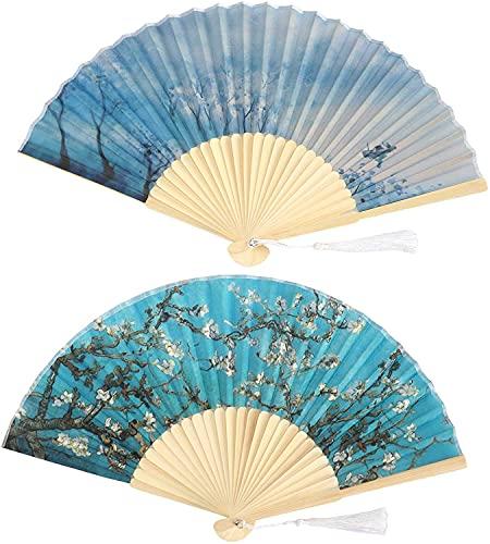 MENG Fan Plegable de la Mano de la Mano de Kuidamos 2 Unids Vintage de Mano, Ventilador Plegable, Ventilador Plegable de Tela para Boda Asiática Ventilador de Mano