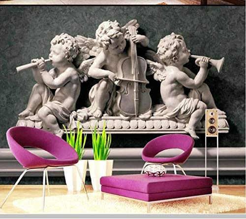 3D Stereo Plaster Relief European Angel Statue Wallpaper Mural,Living Room Bedroom Wall Papers Home Decor 450(L) x300(H) cm