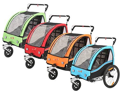 Fiximaster 2 en 1 Remolque de la bicicleta de los niños 360° Giratorio MUL-tifunction Cochecito de dos asientos Carrito de transporte con freno de mano/suspensión (rojo BT503)