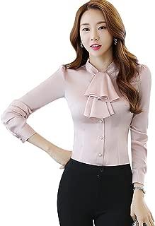 CHICFOR Women's Long Sleeve Chiffon Shirt Tie Bow Neck Button Down Blouse Shirts Top Slim Fit Blouse