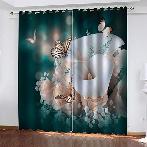 LUOWAN Bedroom Blackout Curtains Flower butterfly print pattern Total size:92' wide x 90.5' drop (234cm x 230cm) Eyelet Ring Top Thermal Insulated Soft Window Darkening Panel Kitchen Set Super Soft fo