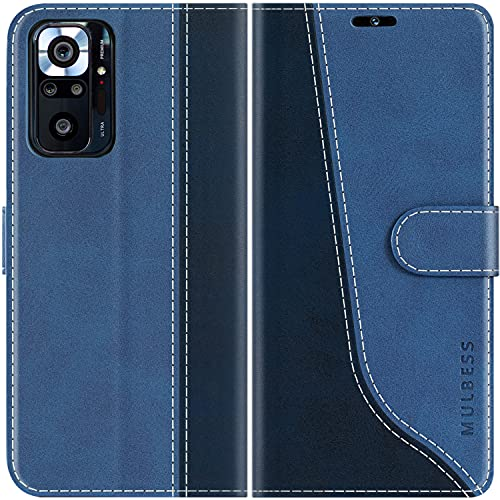 Mulbess Funda para Xiaomi Redmi Note 10 Pro, Funda con Tapa Xiaomi Redmi Note 10 Pro, Funda Xiaomi Redmi Note 10 Pro Libro, Funda Cartera para Xiaomi Redmi Note 10 Pro Carcasa, Diamante Azul