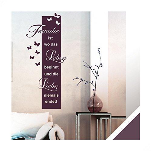 Exklusivpro Wandtattoo Spruch Familie ist Leben Liebe inkl. Rakel (ban45 aubergine) 150 x 64 cm mit Farb- u. Größenauswahl