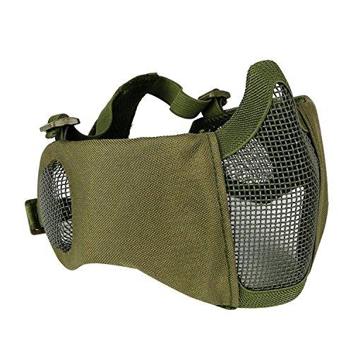 haoYK Schutzmaske, halbe Gesichtsmaske, faltbar, Metall und Netzgewebe, größenverstellbar, taktische Maske inkl. Ohrenschutz für Airsoft- und andere Schützen, Jäger, Paintball-Spieler, OD