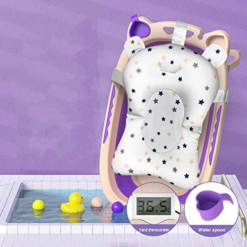 MTX-RM Bañera para bebé, bañera para recién nacidos, plegable, portátil, para niños, pantalla digital, medición de temperatura en tiempo real, disponible para 0-8 años, Morado B, L