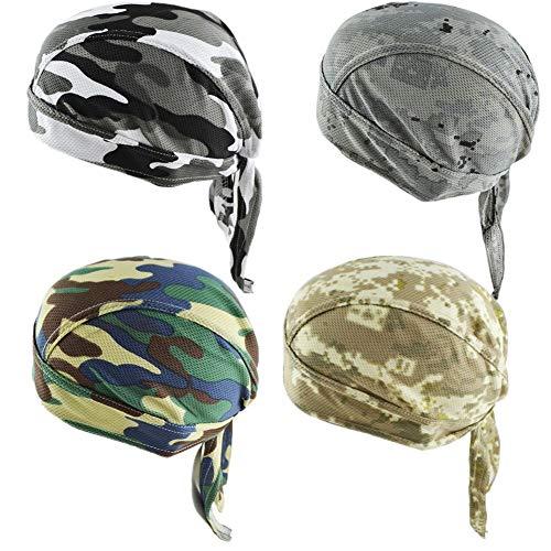 GUIFIER 4 Stück Sports Bandana Kopfbedeckung Schnell Trocknende Kopftuch,Schädelkappe unter Helm Stirnband Bandana Piratenhut Kappe