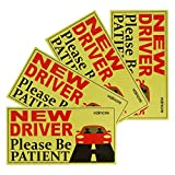 Vaincre Set of 4 Reflective Student Driver Magnets for Car, Vehicle Sign Magnetic Bumper Sticker for New Driver/Novice in Yellow