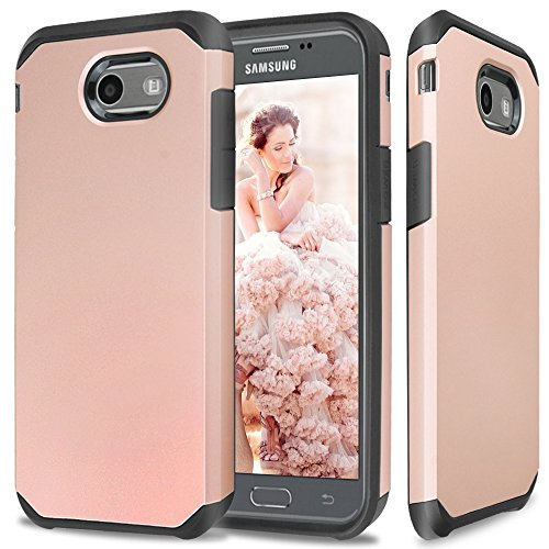 TJS Samsung Galaxy J7 Sky Pro Case, Galaxy J7 Perx Case, Galaxy J7 V Case, Galaxy Halo Case, Galaxy J7 Prime Case, Tjs Ultra Thin Slim Hybrid Shockproof Impact Protection Case Armor Cover (Rose Gold)