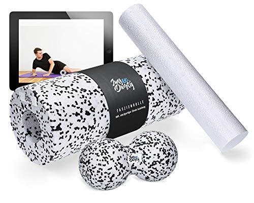 Jung & Durstig Original Faszienrollen Komplett Set   2in1 Faszienrolle für Beine, Rücken und Wirbelsäule   Massagerolle Duoball Handroller inklusive E-Book zur Selbstmassage