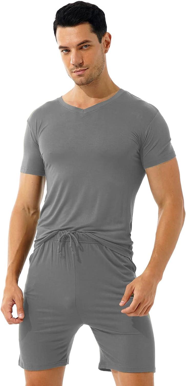 dPois Mens Elastic Waistband Sleep Pajama Boxer Shorts V Neck Shirts Top 2 Piece Nightwear