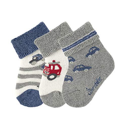 Sterntaler Baby - Jungen Socken Baby-söckchen 3er-pack Fahrz, Silber (Silber Mel. 542), 17-18