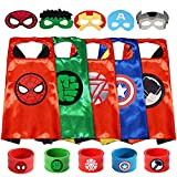 Paoive Superheros Cape and Mask Costumes Set Includes Bonus Matching Wristbands for Kids (5 sest Superheros Cape)