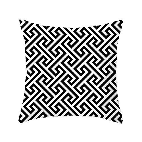 Funda de Cojín Decorativos Funda de Almohada Geometría en blanco y negro Cuadrado Terciopelo Suave Cojines Decor con Cremallera Invisible para Sofá Decor Funda de Cojín M3558 Pillowcase+core,40x40cm