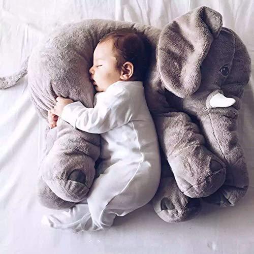 Almohada para el cuello de dibujos animados grande elefante de peluche de juguete niños dormir almohadas para la espalda almohada rellena elefante muñeca bebé regalo de cumpleaños 60cm