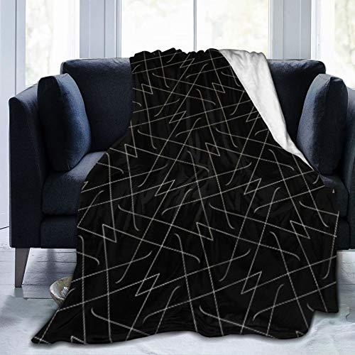 Bernice Winifred Líneas Negras Patrón Simple Geométrico Abstracto Manta de Microfibra Ultra Suave Hecha de Franela Anti-Pilling, más cómoda y cálida.80x60