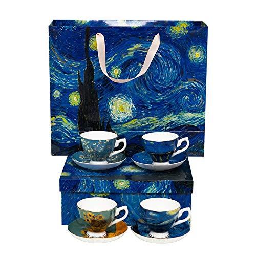 fangzhuo Taza de café Van Gogh Pintura Diseño Cerámica 4 Piezas Taza De Café Y Platillo Y Juegos De Taza De Té Cerámica