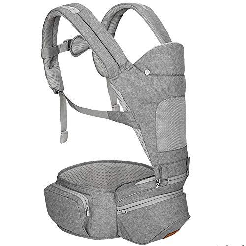 YUMEIGE Portabebés Portabebés 2 en 1, Malla Transpirable Frontal portabebé, portabebé 4-36 Meses Carga bebé (3.6-15 kg) (Color : Gray)