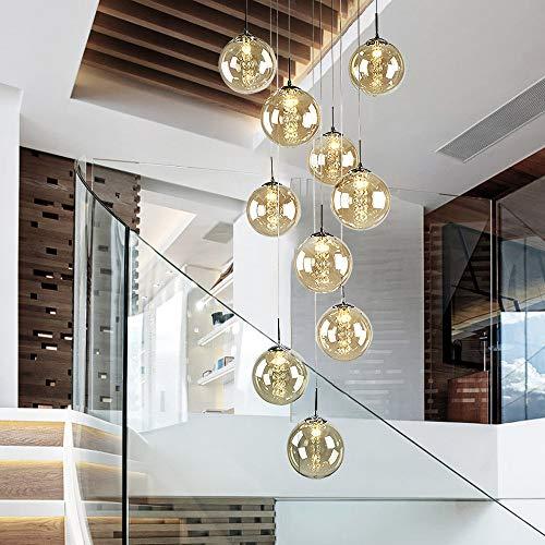 Pendelleuchte esstisch Pendellampe Höheverstellbar Villa Kronleuchter Hängeleuchte 9-Flammig aus Glas Küchen Wohnzimmerlampe Schlafzimmerlampe Flurlampe haengeleuchten treppen Luxus (Gold)