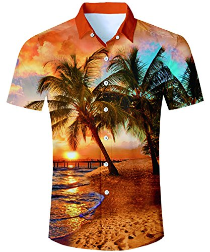 TUONROAD Camisa Hawaiana para Hombre 3D Camisas de Playa Manga Corta Casual Camisas M-XXL