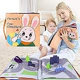 TUMAMA Neonato Libro Stoffa Gioco Babygiocattoli Bambini Neonato Libri di Stoffa,Giocattoli Educativi Precoce di Stoffa Morbida Libri(Orange)