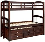 ACME Furniture Micah Bunk Bed with Trundle and 3 Drawers, Espresso, Twin over Twin